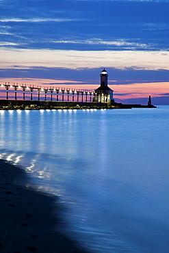 Michigan City Lighthouse at sunset