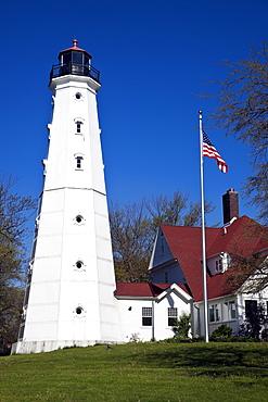 USA, Wisconsin, Milwaukee, View of Milwaukee lighthouse, USA, Wisconsin, Milwaukee