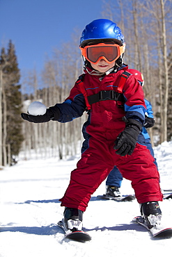 USA, Colorado, Telluride, Two boys (4-5, 2-3) skiing