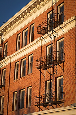 USA, Nevada, Goldfield, Building exterior with fire escapes