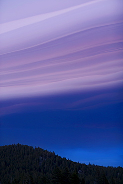 USA, California, Lake Tahoe, Landscape with lenticular clouds