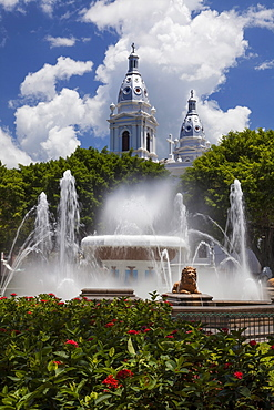 The Fountain of the Lions with Ponce Cathedral (built in 1670) in background, Ponce, Puerto Rico
