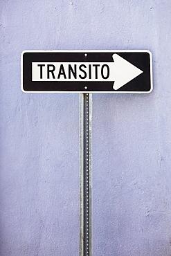 One way street sign, Old San Juan, Puerto Rico