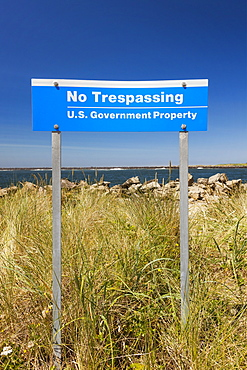 U.S. Government No Trespassing sign, Winchester Bay, OR