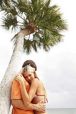 Couple hugging under palm tree