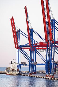 Malaga, Cargo container in harbor, Malaga, Spain