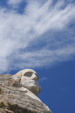 USA, South Dakota, George Washington head at Mount Rushmore National Memorial