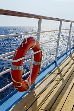 Life belt on ship at sea