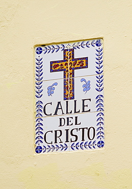 Puerto Rico, Old San Juan, Calle del Christo sign
