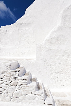 Greece, Cyclades Islands, Mykonos, Paraportiani church steps