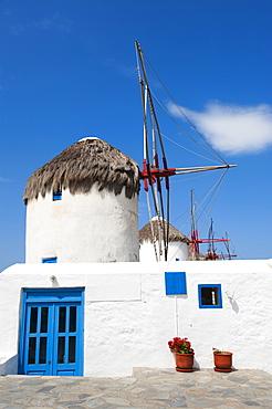 Greece, Cyclades Islands, Mykonos, Old windmills