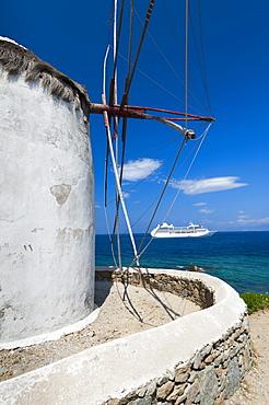 Greece, Cyclades Islands, Mykonos, Old windmill at coast