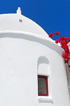 Greece, Cyclades Islands, Mykonos, Traditional building window