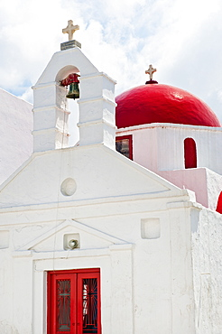 Greece, Cyclades Islands, Mykonos, Church with bell tower