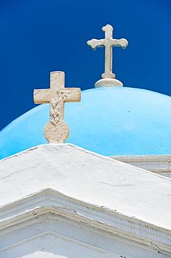 Greece, Cyclades Islands, Mykonos, Church dome with cross