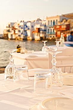 Greece, Cyclades Islands, Mykonos, Set tables by sea