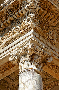 Turkey, Ephesus, Corinthian column on Library of Celsus