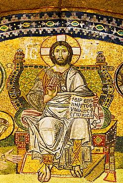 Turkey, Istanbul, Mosaic of Leo VI kneeling before Jesus in Haghia Sophia Mosque