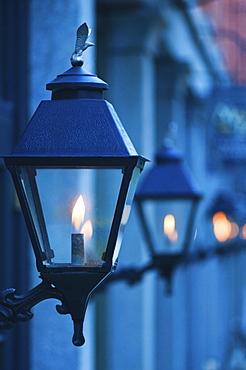 USA, Georgia, Savannah, Close up of gas street lamps at dusk