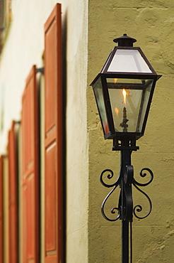 USA, South Carolina, Charleston, Close up of gas street lamp