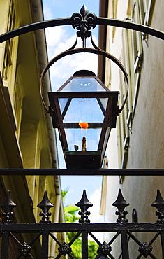 USA, South Carolina, Charleston, Close up of gas lamp