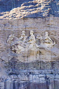USA, Georgia, Stone Mountain, Bas-relief representing Confederate leaders