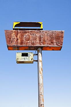 USA, Arizona, Wakeup, low angle view of rusted motel sign, USA, Arizona, Wakeup