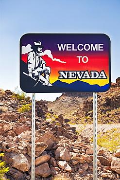 USA, Nevada, Boulder City, welcome sign to Nevada, USA, Nevada, Boulder City