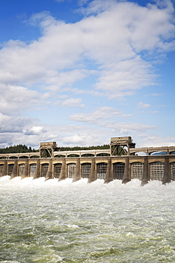 Water moving through locks, Bonneville Dam, Oregon