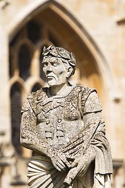 UK, Somerset, Bath, Statue of Julius Caesar at Roman Baths, UK, Somerset, Bath