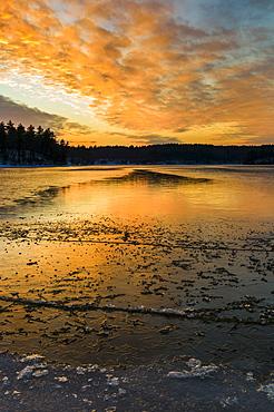 Sunset, Walden Pond, Concord, Massachusetts