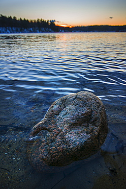 Boulder in water, Walden Pond, Concord, Massachusetts
