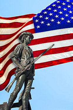 Minutemam statue with flag, Concord, Massachusetts
