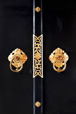 Close-up of ornate door handles
