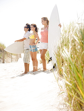 Friends holding surfboards at beach