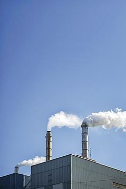 USA, Washington, Camas, part of factory chimneys, USA, Washington