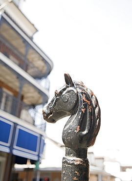 Close up of hitching post, French Quarter, New Orleans, Louisiana, United States