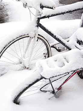 USA, New York State, Brooklyn, Williamsburg, bicycles in snow