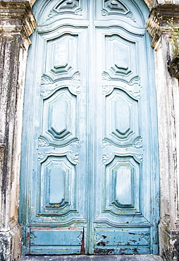 Brazil, Bahia, Salvador De Bahia, Close-up on blue carving door