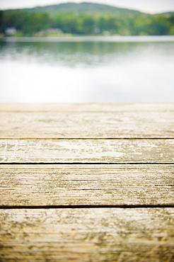 USA, New York, Putnam Valley, Roaring Brook Lake, Close up of wooden pier at lake