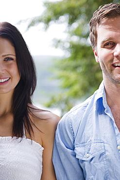 Roaring Brook Lake, Close up of happy couple