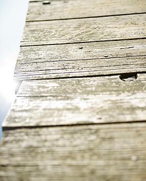 Roaring Brook Lake, Close up of wooden pier