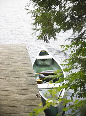 Roaring Brook Lake, Boat moored at pier on lake