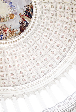USA, Washington DC, Capitol Building, Close up of fresco and coffers on ceiling