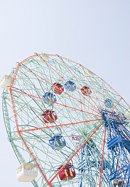Ferris wheel in amusement park, USA, New York State, New York City, Brooklyn, Coney Island