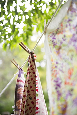 Laundry hanging on garden rope