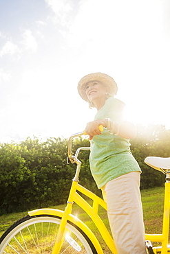 Senior woman on bike
