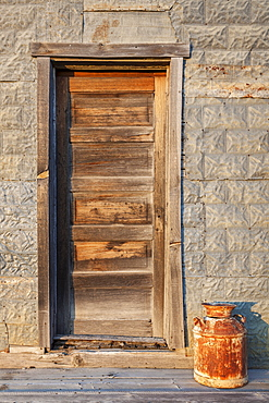 Wooden antique door, USA, South Dakota, Okaton
