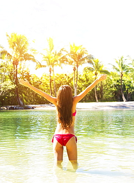 Rear view of young woman wearing bikini standing in waters of tropical lagoon, raising arms, Jupiter, Florida