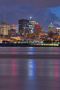 Canada, Montreal, skyline at dusk